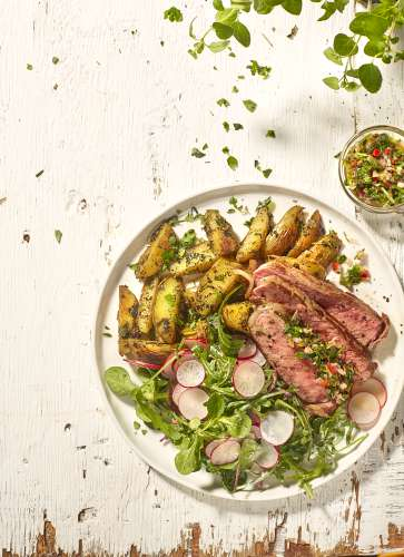 Dunne lende met chimichurrisaus