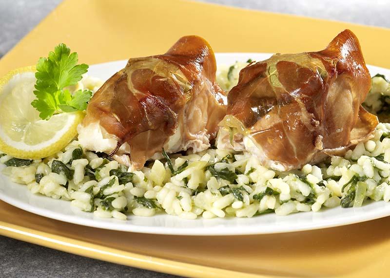 Lotte au jambon de Parme et risotto d'épinards