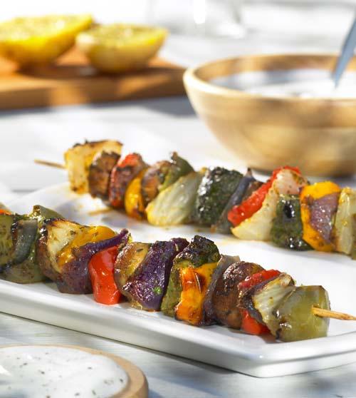 Brochettes de légumes et marinade méditerranéenne