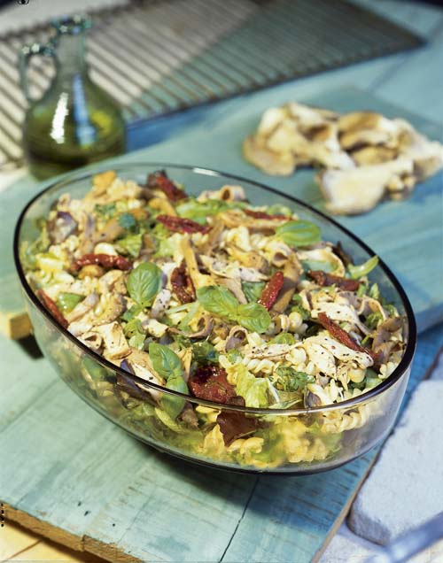 Salade « Italia », au rôti de porc et aux pleurotes