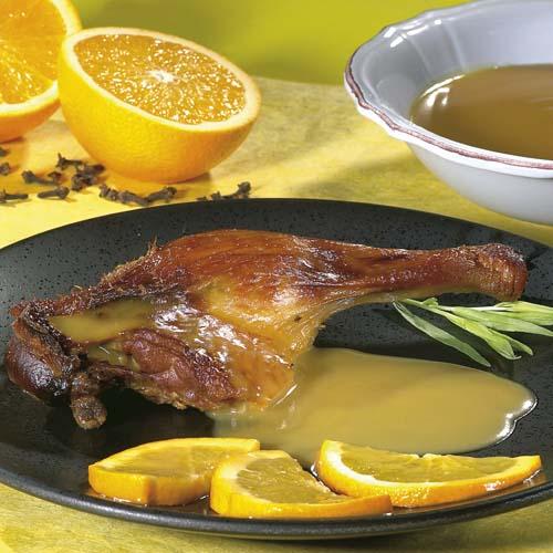 Cuisses de canard, sauce à l'orange