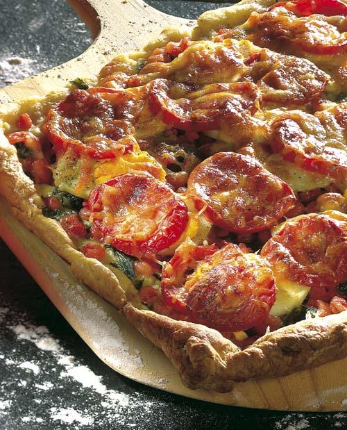 Pizza met spinazie en garnalen