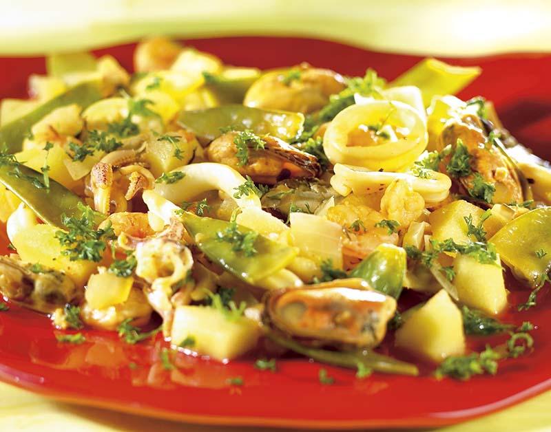 Cocktail de fruits de mer aux pommes vertes, au wok