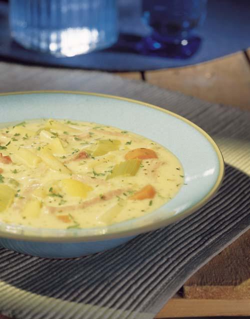 Potage au jambon et aux petits légumes de printemps