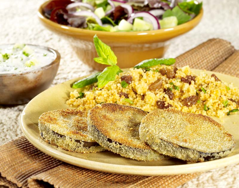 Aubergines panées et couscous