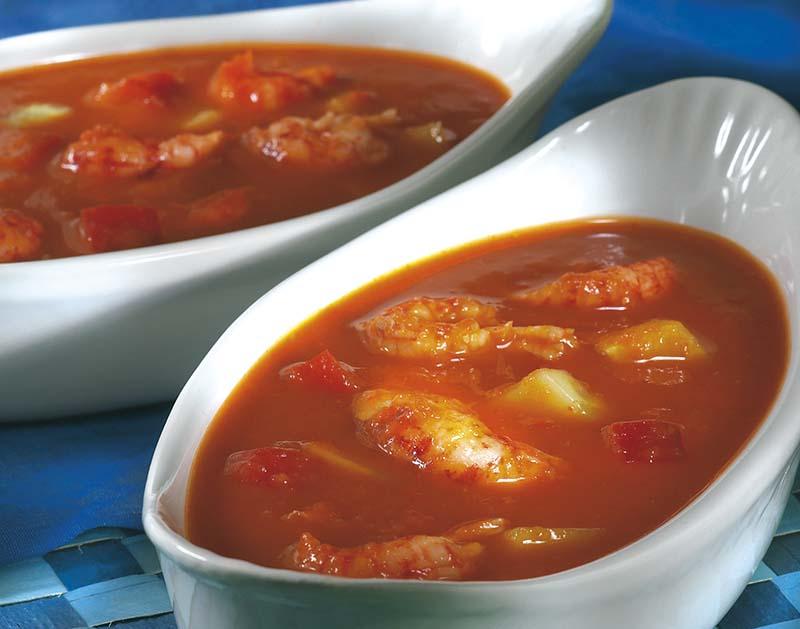 Tomatensoepje met rivierkreeftjes