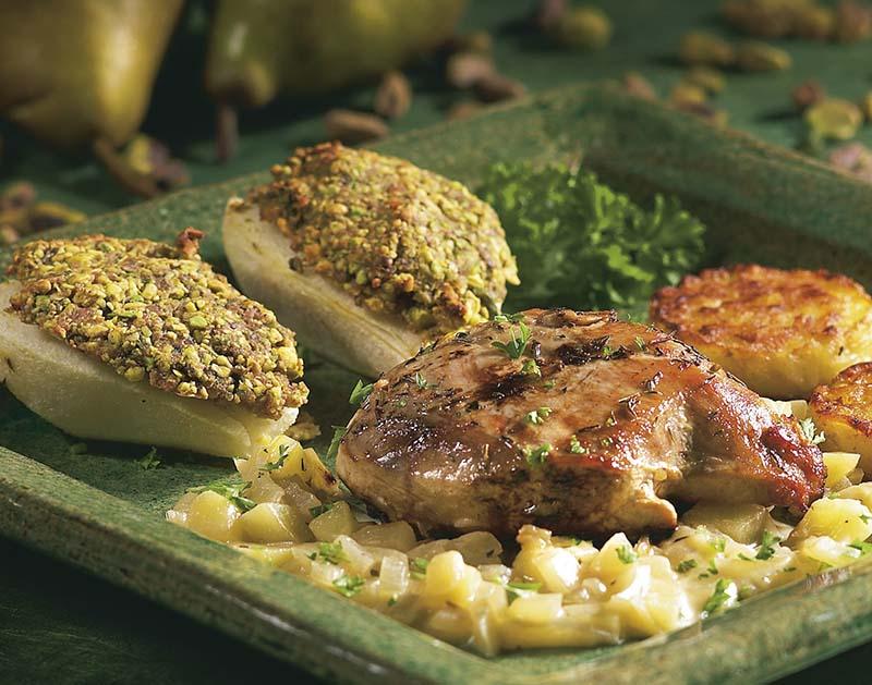 Faisan, sauce aux pommes et poires aux pistaches