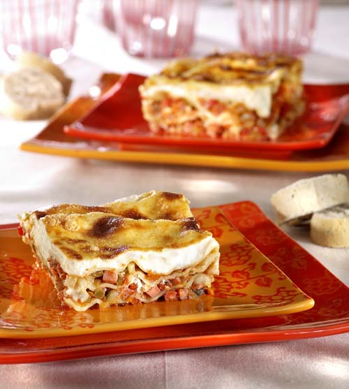 Lasagne au jambon, aux légumes du Sud et au chèvre frais