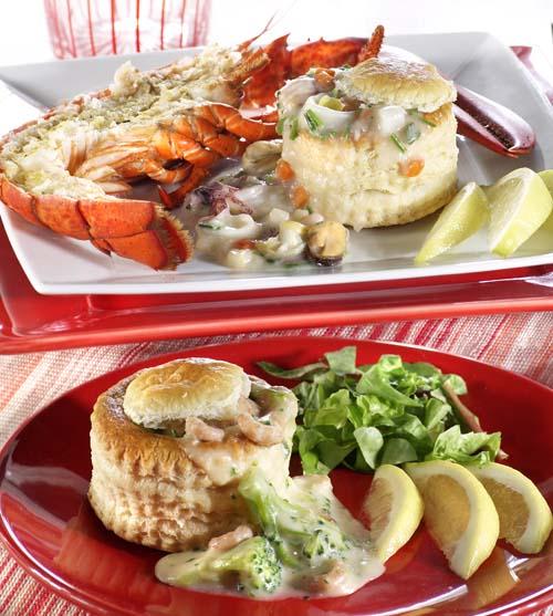 Bouchée aux crevettes grises et au brocoli