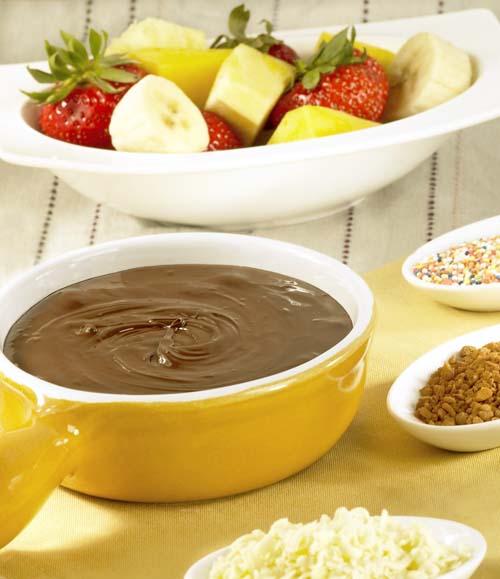 Chocoladefondue met fruit