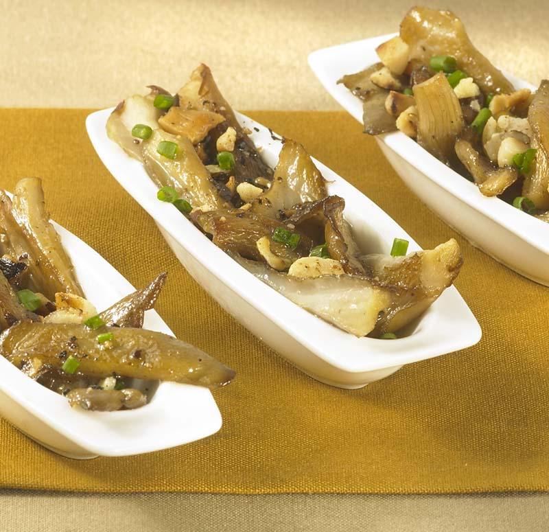 Oesterzwammen met noten en truffelolie