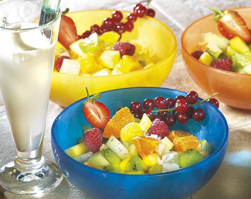 Kruidige vruchtensla met Griekse yoghurt