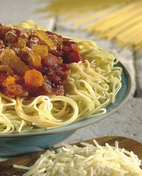 Spaghetti met linzenbolognese