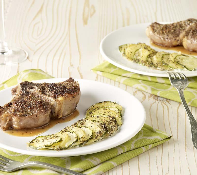Kruidige lamskotelet met groentegratin