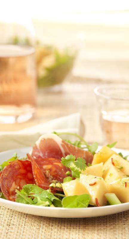 Salade fraîche au melon, dressing au citron vert