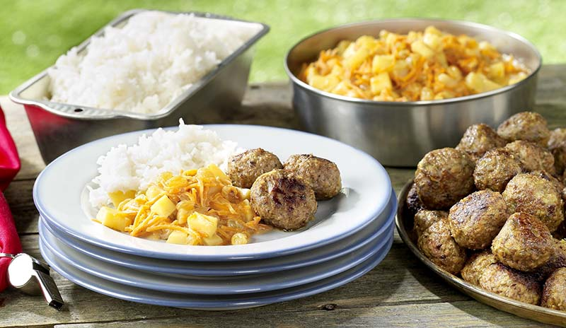 Partie de boules curry-coco