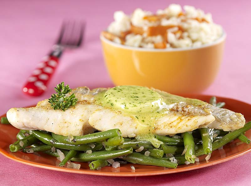 Le poisson du pirate, haricots verts et riz aux carottes
