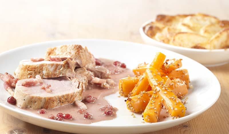 Filet pur et carottes au sésame