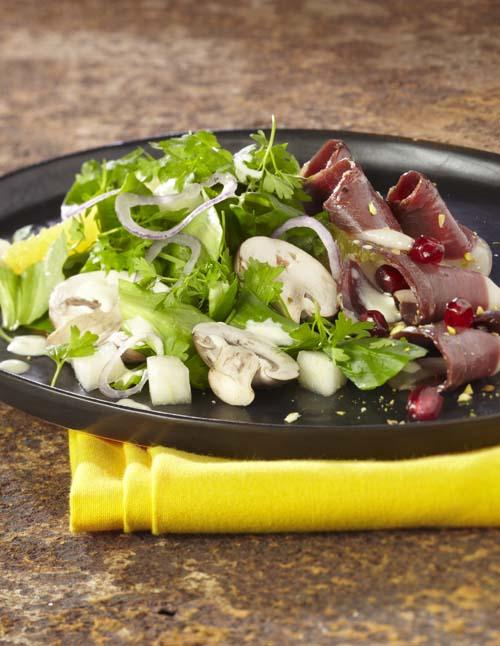 Salade de blé aux champignons et magret fumé