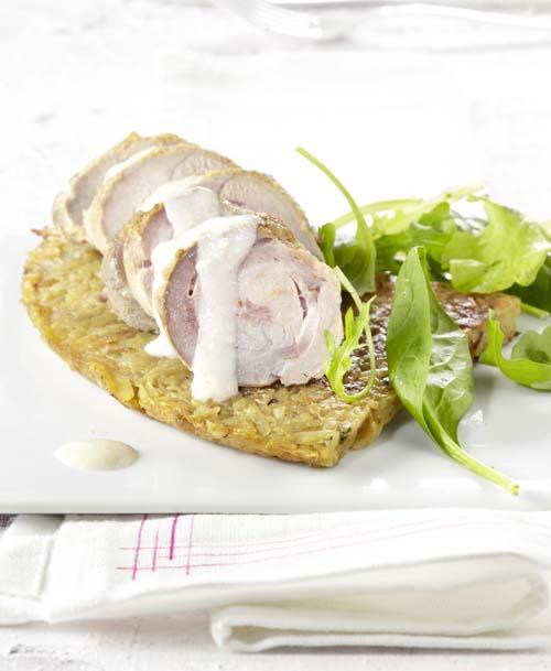 Roulades de porc et röstis au chou-rave