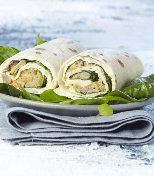 Wrap au hachis et à la salade de blé