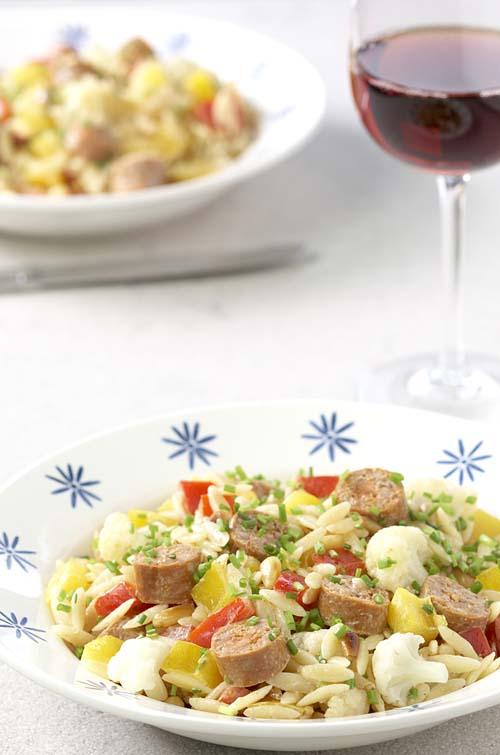 Salade de risones aux merguez et au chou-fleur
