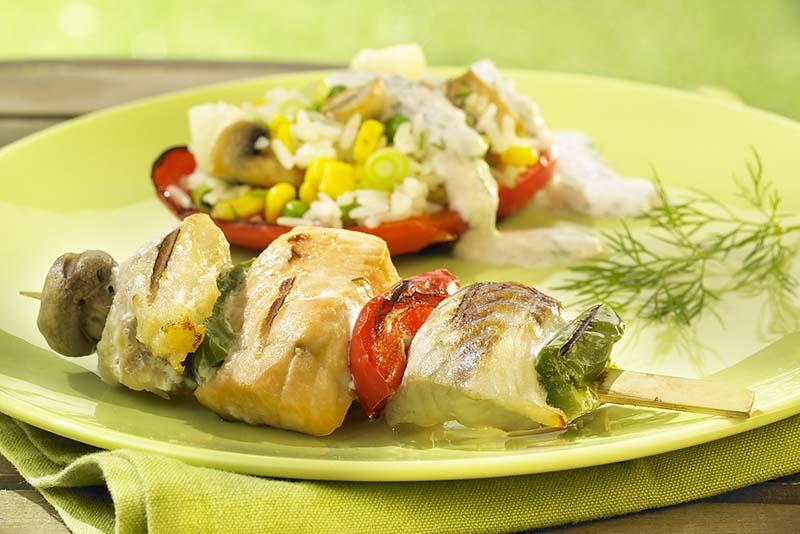 Brochette de poisson et poivron farci