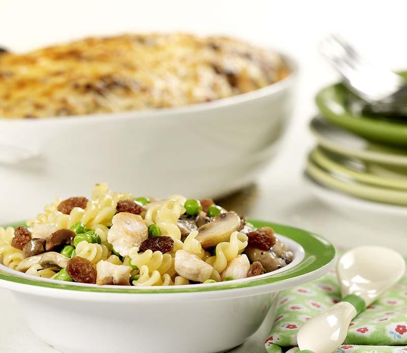 Ovenschotel met pasta en kip (Baby eet mee)