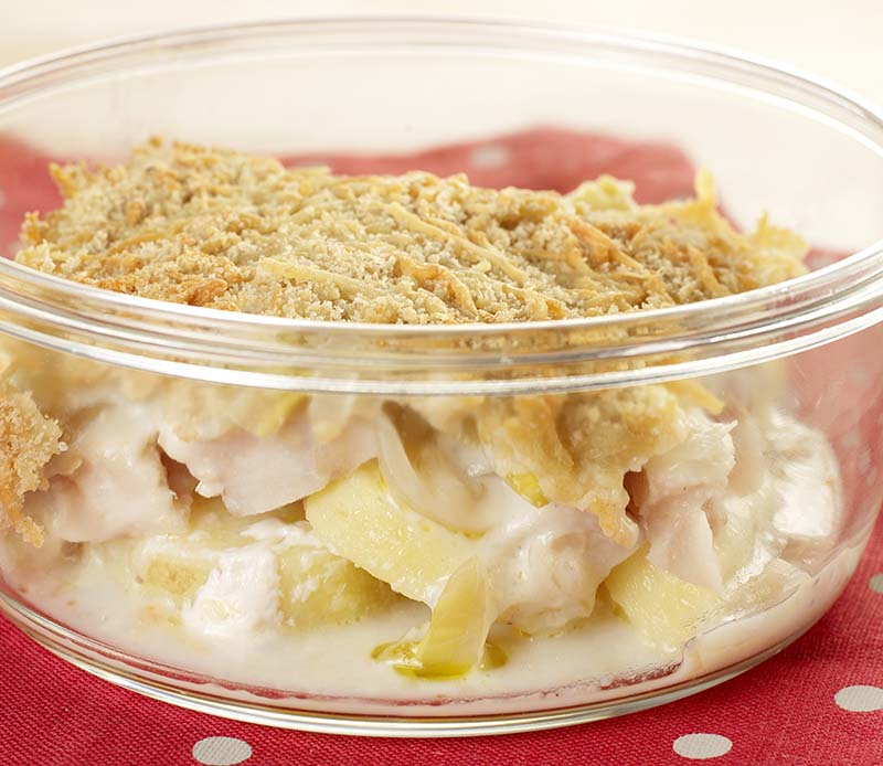 Aardappelgratin met vis en witloof