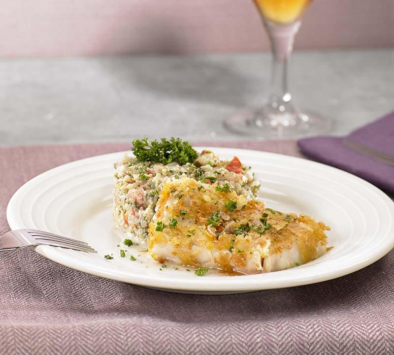 Kabeljauwhaasje en quinoa met mediterrane groenten