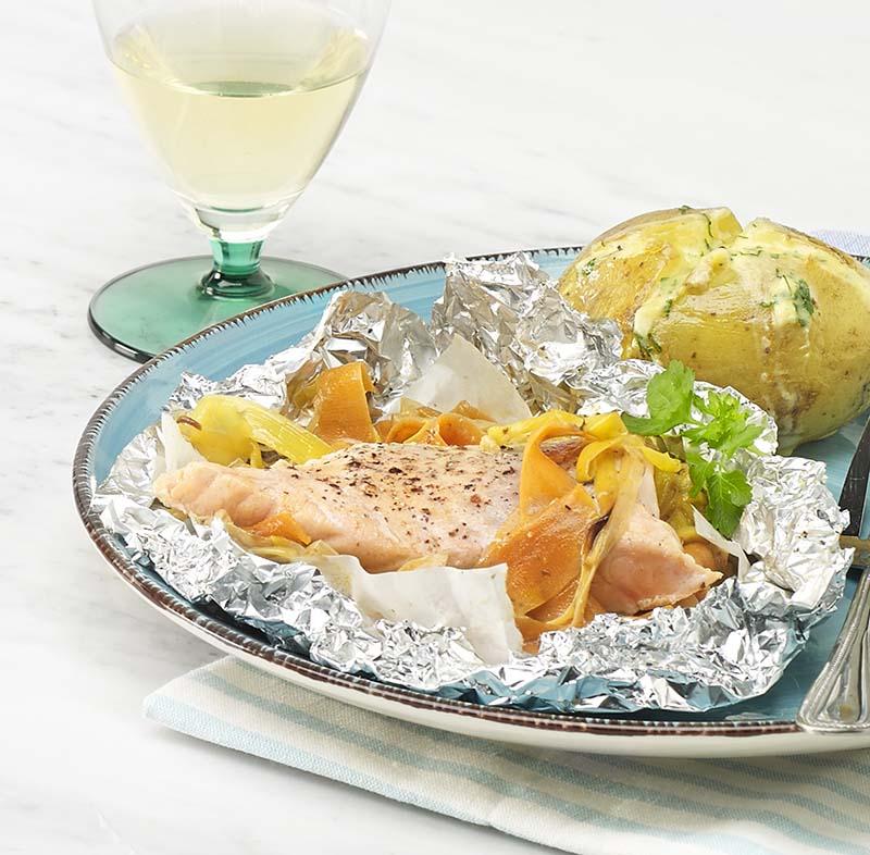 Papillote de saumon aux tagliatelles de légumes