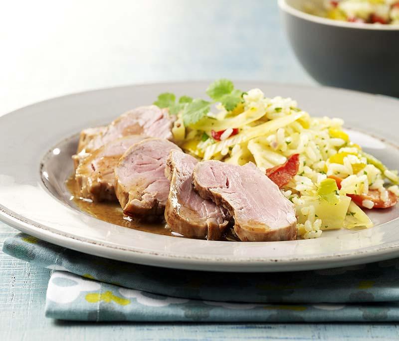 Filet pur de porc à l'orientale et riz aux légumes