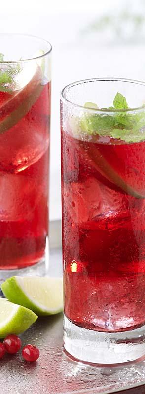 Mocktail pomme-cranberry à la menthe