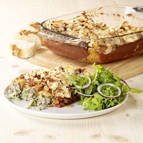 Cannelloni met gehakt-courgettevulling en fetakorstje