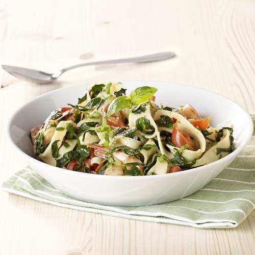 Pappardelle met scampi en spinazie