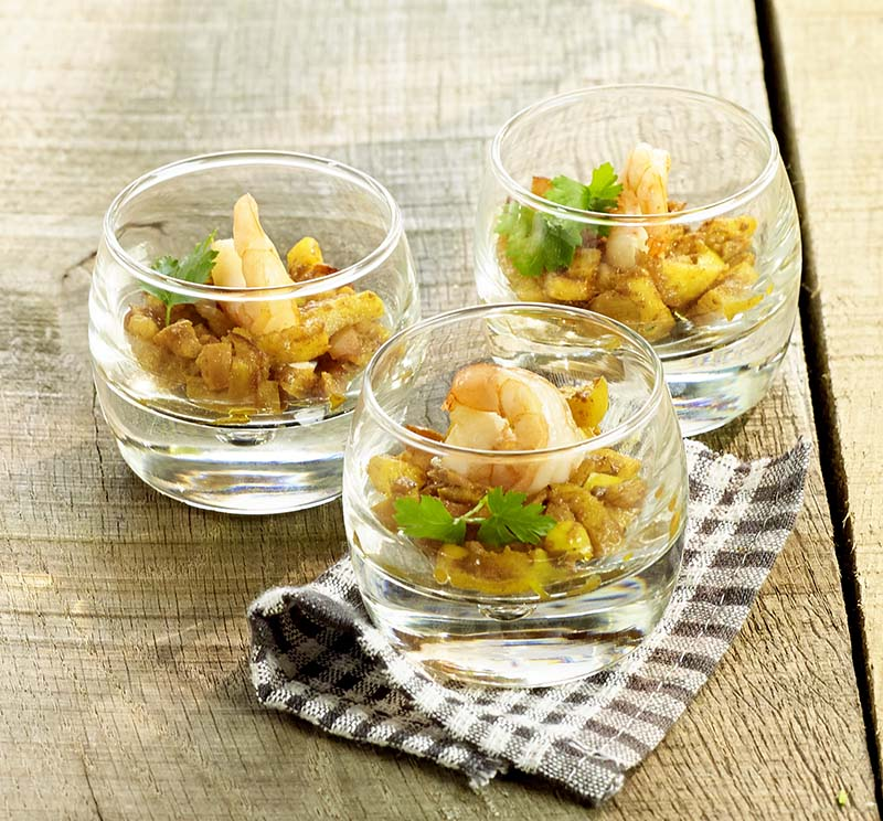 Scampi pomme-curry