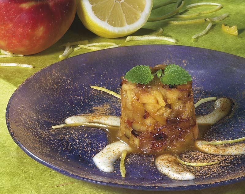 Tourelle de pomme, sauce au miel