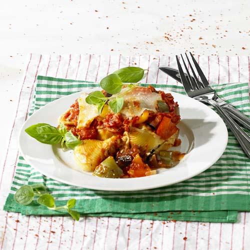 Conchiglionis farcis, sauce aux légumes relevée