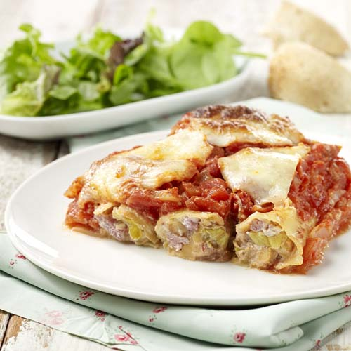 Cannelloni met prei in tomatensaus