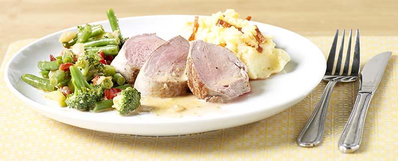 Filet pur de porc aux légumes grillés
