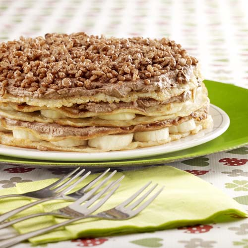 Pannenkoekentaart met banaan en chocolade