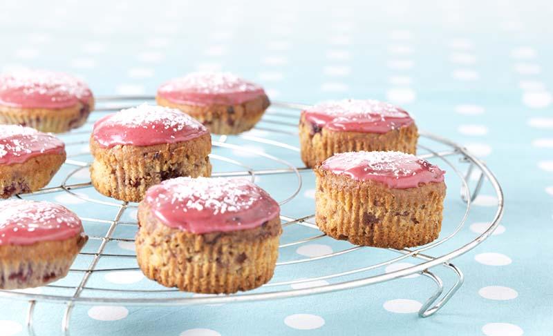 Cupcakes met frambozen en kokos