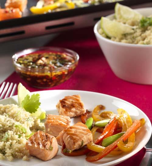 Teppanyaki de saumon et semoule à la coriandre