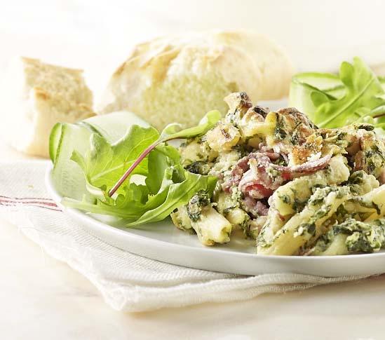 Pastasoufflé met spinazie en ham