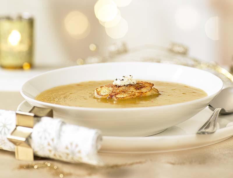 Soupe de Butternut et minicrêpes salées